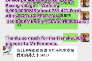 Best result of my Fieneke 5000 in the Biggest Racing village Wuhan - China